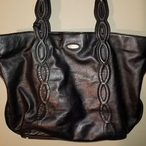 Tahari Black Leather Knot Detail Tote